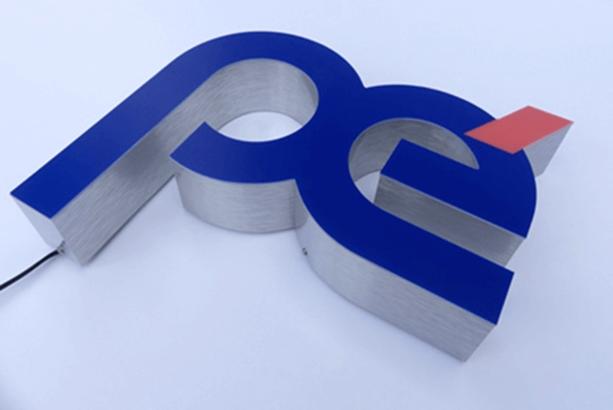 Enseigne Lumineuse 92, 94 - tôle tablette avec lettres ajourées gamme lettres en relief