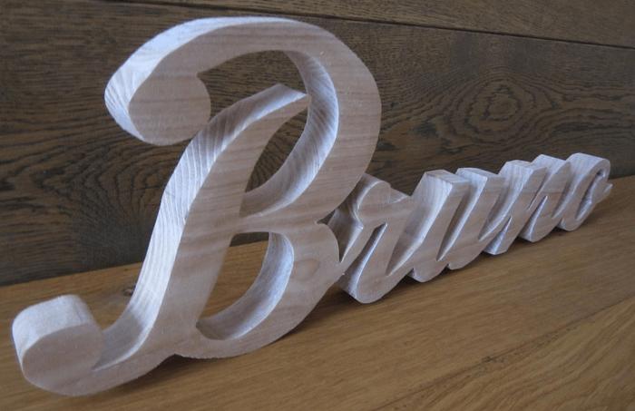 Découpe de lettres en bois blanc - Signalétique intérieure et décoration Paris étiq