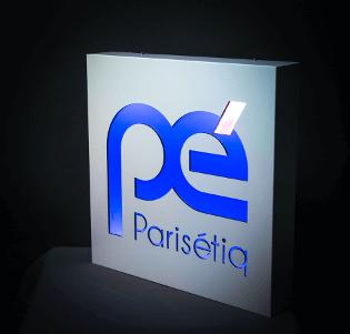 Enseigne Lumineuse tôle tablette avec lettres ajourées gamme luxéconomie - Paris, 78, 92 et 94
