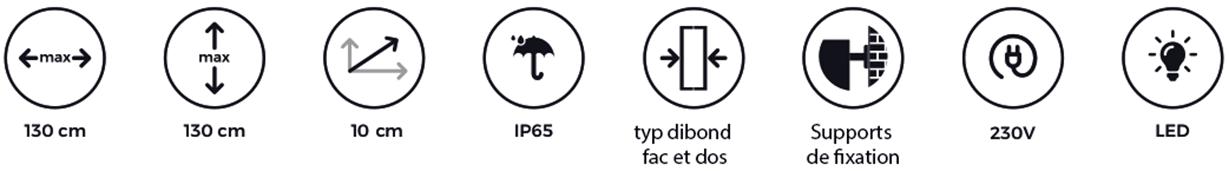 Parisétiq - Enseigne Lumineuse tôle tablette avec lettres ajourées gamme premium - Paris, 78, 92 et 94