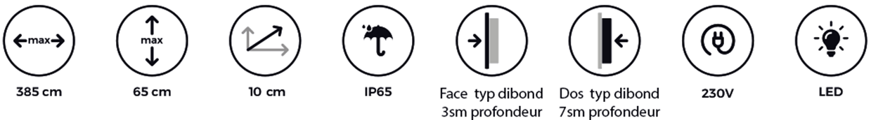 Parisétiq - Enseigne Lumineuse tôle tablette avec lettres ajourées gamme prestige - Paris, 78, 92 et 94